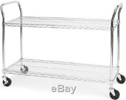 18 x 48 Heavy Duty Office Rolling Media Utility Push Cart in Silver withCasters