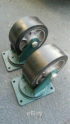 (2) COLSON 10x4 Heavy Duty Swivel Castors bearings with grease fittings NEW
