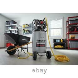 20 Gal. Vertical Electric-Powered Silent Air Compressor with Heavy Duty Casters