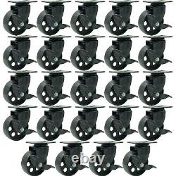 24 All Black Metal Swivel Plate Caster Wheel with Brake Heavy Duty (3.5 with brake)