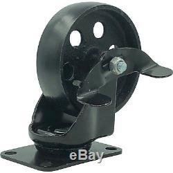 24 All Black Metal Swivel Plate Caster Wheels with Brake Heavy Duty (4 with brake)
