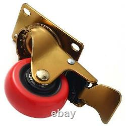 24 Pack 3 Heavy Duty Swivel with Brake Red PU Caster Wheels with Hardware Kit