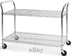 24 x 48 Heavy Duty Office Rolling Media Utility Push Cart in Silver withCasters