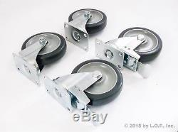 28 Plate Casters 5 Polyurethane Wheels All Swivel and 14 Brake Tough Caster