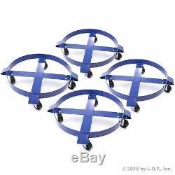 4 30 Gallon Drum Dolly Swivel Casters Heavy Duty Steel Frame Non Tip 1000 lbs