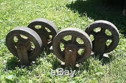 4 Antique Industrial Casters Cast Iron Steampunk Heavy Duty Cart Wheels Table