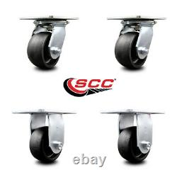 4 Heavy Duty Large Top Plate Glass Filled Nylon Caster withBB 2 Swivel & 2