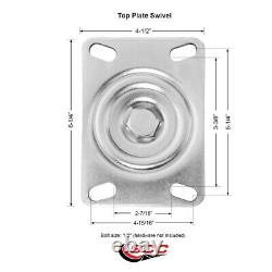 4 Heavy Duty Large Top Plate Semi Steel Cast Iron Caster withBB2 Swvl withBRK&BSL