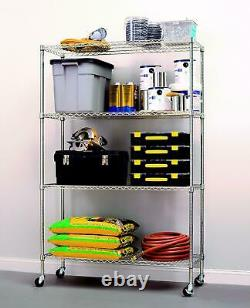 4 Shelf Heavy Duty Commercial Grade Wire Shelving With Liners And Casters Silver