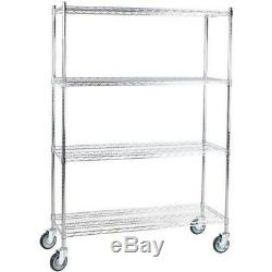4-Shelf Kit Heavy Duty NSF Chrome 64 Post Casters Wire Shelving Commercial New