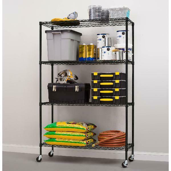 4-shelf Wire Shelving With Casters Commercial Grade Organizer 18dx48wx75h