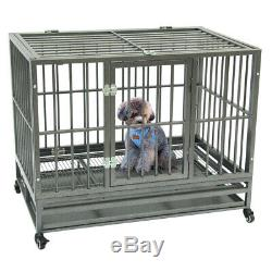 42Heavy Duty Dog Cage Crate Kennel Metal Playpen Stackable with Tray Casters
