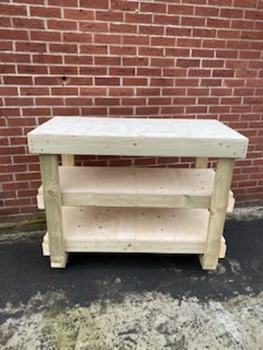 4ft Plywood Workbench With 2 Shelves & Castors Heavy Duty- 18mm Plywood