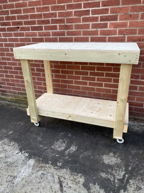 4ft Plywood Workbench With Castors Heavy Duty- 18mm Plywood