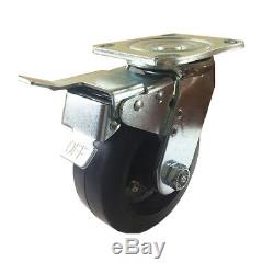 5 x 2 Heavy Duty Rubber on Cast Iron Caster Swivel with Total Lock Brake