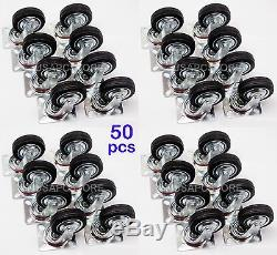 50 pack swivel caster wheels 3 rubber base with top plate & bearing heavy duty
