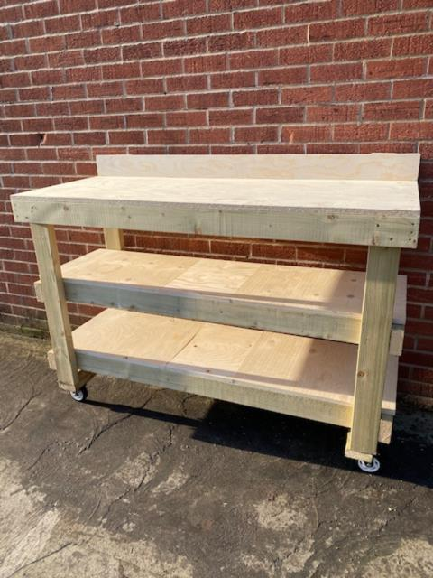 5ft Plywood Workbench, Upstand, 2 Shelves & Castors Heavy Duty- 18mm Plywood