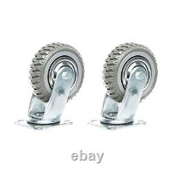 6 Inches Heavy Duty Rubber Caster Wheels Anti-Skid Swivel Casters Wheels with of