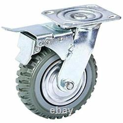 6 Inches Rubber Caster Wheels Anti-Skid Heavy Duty Swivel Casters With 360 For 4