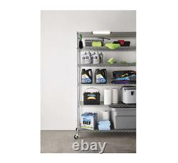 6-Level Commercial Storage Chrome-plated Steel Shelving With Casters