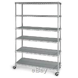 6-Level Heavy-duty zinc-plated steel Storage Shelving with casters 500 lbs