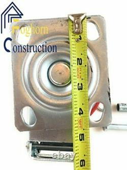 6 x 2 Heavy Duty Metal CASTERS with Poly Tread Set of 4 Wheels 2 Fixed 2