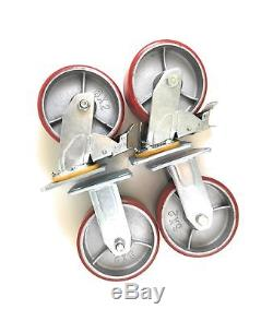 6 x 2 Heavy Duty Metal Casters with Poly Tread Set of 4 wheels, 2 Fixed