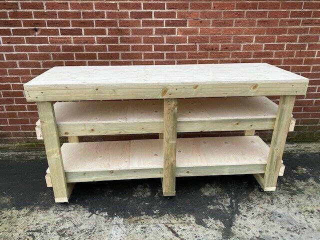 6ft Plywood Workbench With 2 Shelves & Castors -heavy Duty- 18mm Plywood