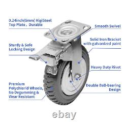 8 Inch Flat Free Caster Wheel Set 4 Pack Heavy Duty Industrial Casters Solid
