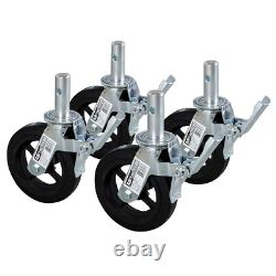 8 Scaffold Caster Wheel Aluminum Coated Steel Heavy Duty Supports up 750lbs 4Pc