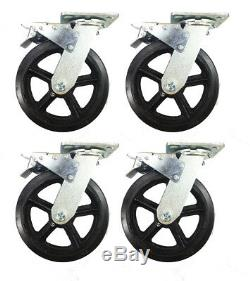 8 x 2 Heavy Duty Rubber on Cast Iron Caster 4 Swivel with Total Lock Brake