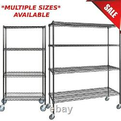 ANY SIZE Heavy Duty Mobile Black Metal Wire Shelf Rack Commercial NSF Casters