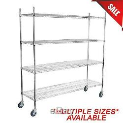 ANY SIZE Heavy Duty Mobile Chrome Metal Wire Shelf Rack Commercial NSF Casters