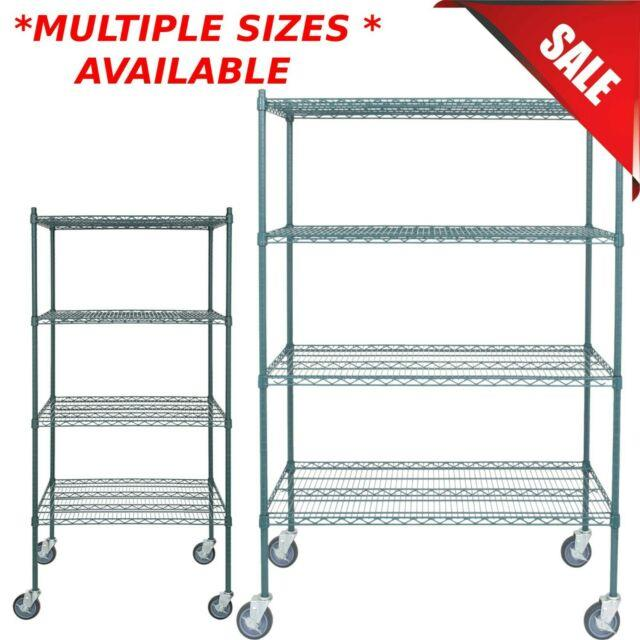 Any Size Heavy Duty Mobile Green Metal Wire Shelf Rack Commercial Nsf Casters