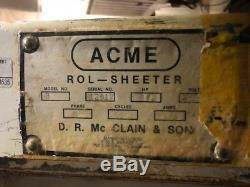 Acme 8 Dough Bakery Baking Rol-Sheeter Heavy Duty Commercial on Casters 115 Volt