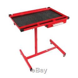 Adjustable Work Table With Drawer & Swivel Casters Heavy Duty Red Service Cart