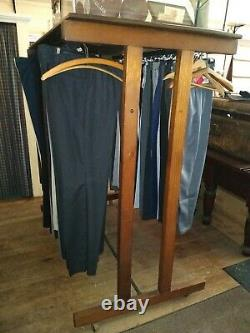 Antique Wooden Double Sided Garment/Clothing Rack With Display Shelf & Casters