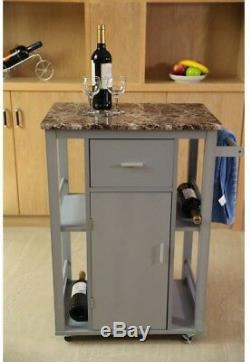 Basicwise Gray Wooden Kitchen Island on Wheels and Heavy Duty Rolling Casters