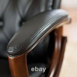 Black Leather Office Chair Executive Swivel Desk Chairs High Back Castors Gaming