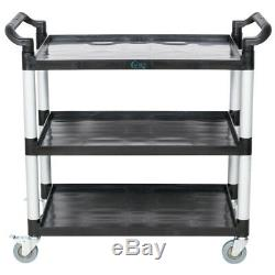 Black Plastic 3 Shelf Heavy Duty Restaurant Utility / Bussing Cart with Casters