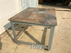 Brute Machine Base, 60x48 Table Top, Rolling Heavy Duty Station on Casters