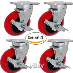 CASTERHQ 4 inch x 2 inch Red Crowned Poly. Iron Swivel withBrake Heavy Duty Caster