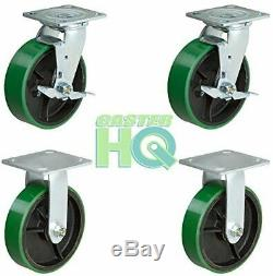 CasterHQ 6 x 2 Heavy Duty Caster Set 2 Swivel with Brake and 2 Fixed Gre