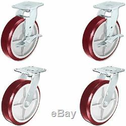 CasterHQ Heavy Duty Polyurethane Swivel Casters with Brake, 8 x 2 Size Pack