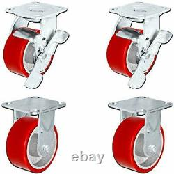 CasterHQ Set of 4 Heavy Duty Casters 5 x 2 Heavy Duty Caster Set with Red Po