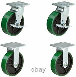 CasterHQ Set of 4 Heavy Duty Casters 8 x 2 Heavy Duty Caster Set with Green
