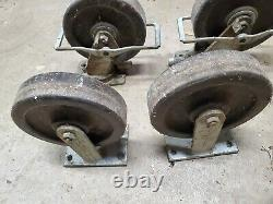 Casters Vintage Heavy Duty Albion Industries Two Fixed Two Swivel with Brakes USA