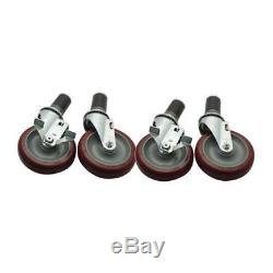Commercial Heavy Duty 1 5/8 in Expanding Stem Caster Set with 5 in Wheels