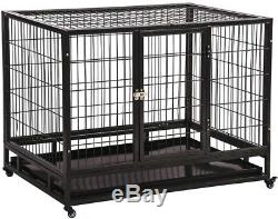 Dog Kennel Crate 42 Inch Heavy Duty Steel With Casters Folding Portable Pen