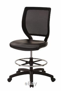 Drafting Chair Deluxe Woven Mesh Back Armless Heavy Duty Casters Furniture Home